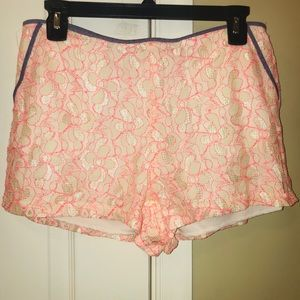 Lush Hot Pink Floral and Denim shorts